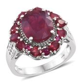 Niassa Ruby Platinum Over Sterling Silver Flower Ring (Size 8.0) TGW 8.55 cts.