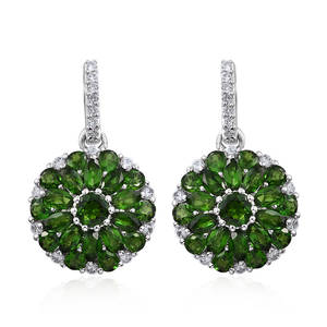 Russian Diopside, Cambodian Zircon Platinum Over Sterling Silver Dangle Earrings TGW 9.43 cts.
