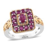 Burmese Ruby 14K YG and Platinum Over Sterling Silver Ring (Size 7.0) TGW 1.82 cts.