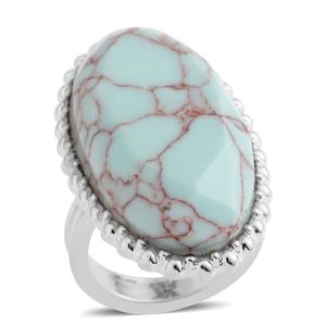 Howlite Silvertone Elongated Ring (Size 6.0) TGW 4.50 cts.