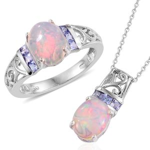 Ethiopian Welo Opal, Tanzanite Platinum Over Sterling Silver Ring (Size 8) and Pendant With Chain (20 in) TGW 3.89 cts.