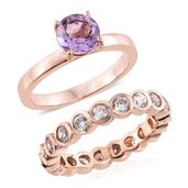 Set of 2 Rose De France Amethyst, Simulated Diamond ION Plated 18K RG Stainless Steel Eternity Band and Solitaire Rings (Size 7.0) TGW 4.55 cts.