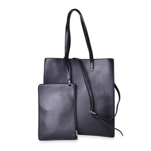 Black Faux Leather Tote (14x6x15 in) with Removable Shoulder Strap (42 in) and Matching Wristlet Clutch (10.5x7 in)