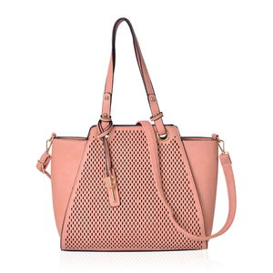 Peach Laser Cut Faux Leather Tote Bag with Removable Key and Shoulder Strap (14x4x10.5 in)