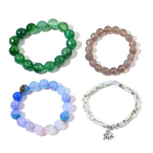 Multi Color Agate, Glass Silvertone Set of 4 Bracelets (Stretchable) TGW 615.15 cts.