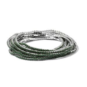 Green Resin Crystal Silvertone Set of 10 Bracelet (Stretchable) TGW 60.00 cts.