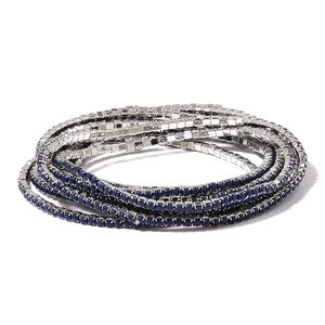 Set of 10 Navy Blue Chroma Silvertone Bracelets (Stretchable)