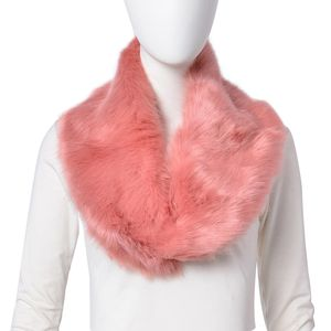 Dark Pink 100% Polyester Faux Fur Scarf (5.91x34.65 in)