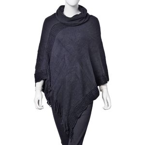 Black 100% Acrylic Turtle Neck V-Shape Poncho with Fringes (One Size)