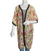 Cream 100% Polyester Chiffon Duster Kimono with Multi Color Neon Floral Pattern (One Size)
