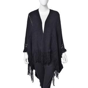 Black 100% Acrylic Open Front Kimono (47.24x59 in) with Fringe