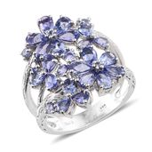 Tanzanite Platinum Over Sterling Silver Openwork Floral Split Ring (Size 10.0) TGW 4.54 cts.