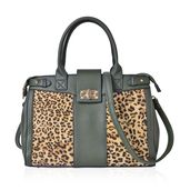 Green with Leopard Pattern Faux Leather Satchel Bag with Removable Strap and Standing Studs (15x5x14 in)