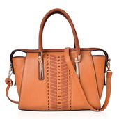 Brown Laser Cut Design Faux Leather Structure Bag with Standing Studs and Removable Strap (15x12x9.5 in)
