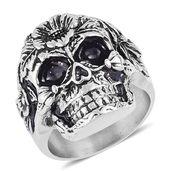 Halloween Black Oxidized Stainless Steel Skull Men's Ring (Size 12.0)