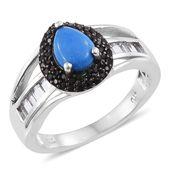 Ceruleite, White Topaz, Thai Black Spinel Black Rhodium & Platinum Over Sterling Silver Ring (Size 9.0) TGW 2.10 cts.
