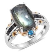 Malagasy Labradorite, Thai Black Spinel, Malgache Neon Apatite 14K YG and Platinum Over Sterling Silver Ring (Size 9.0) TGW 9.22 cts.