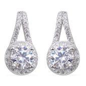Simulated Diamond Sterling Silver Drop Earrings TGW 3.50 cts.