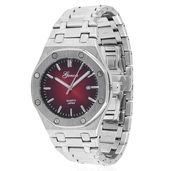 GENOA Miyota Japanese Movement Watch in Silvertone with Stainless Steel Back