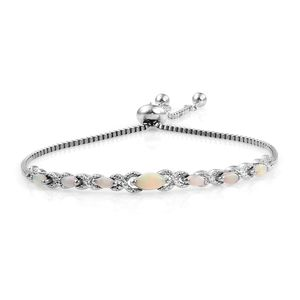KARIS Collection - Australian White Opal Platinum Bond Brass Magic Ball Bracelet (Adjustable) (7.50 In) TGW 0.93 cts.