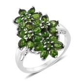 Russian Diopside Platinum Over Sterling Silver Floral Ring (Size 6.0) TGW 4.60 cts.