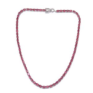 Niassa Ruby, Thai Black Spinel Platinum Over Sterling Silver Oval Tennis Necklace with Panther Spring Ring Clasp (18 in) TGW 43.62 cts.