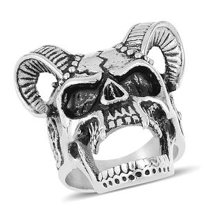 Halloween Black Oxidized Stainless Steel Skull Ring (Size 11.0)
