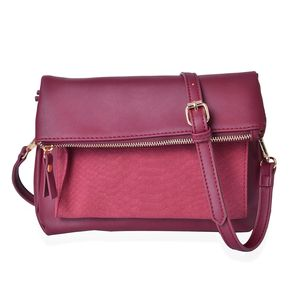Maroon Faux Leather Fold Over Clutch or Crossbody Bag (10x1x10 in) with Removable Shoulder Strap (44in)