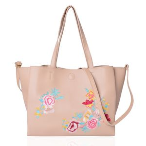Beige and Multi Color Flower Pattern Faux Leather Tote Bag (18.2x13.2x10.2 in)
