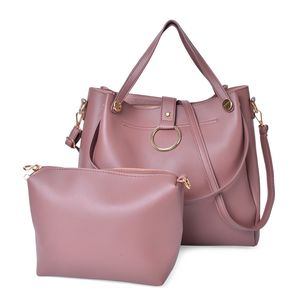 Pink Faux Leather Tote Bag (8.2x3.4x7.4 in) and Crossbody Bag (16x13.2x13 in)