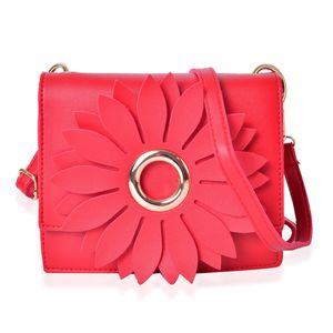 Red 3D Flower Faux Leather Clutch Bag with Removable Crossbody Strap (7.5x2.5x6.5 in)