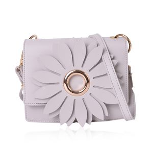 Light Gray 3D Flower Faux Leather Clutch Bag with Removable Crossbody Strap (7.5x2.5x6.5 in)