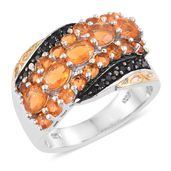 Salamanca Fire Opal, Thai Black Spinel 14K YG and Platinum Over Sterling Silver Ring (Size 8.0) TGW 2.16 cts.
