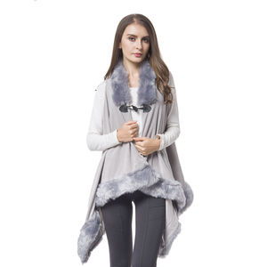 Gray 100% Polyester Vest with Faux Fur Collor & Bottom (One Size)