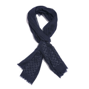 Navy Embellished 90% Merino and 10% Silk Scarf (20x72 in)