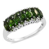 Russian Diopside Platinum Over Sterling Silver Ring (Size 10.0) TGW 2.75 cts.