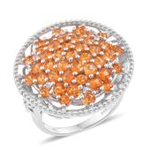 Salamanca Fire Opal, Cambodian Zircon Platinum Over Sterling Silver Ring (Size 5.0) TGW 3.08 cts.