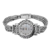 One Day TLV EON 1962 Mother of Pearl, Glass, White Topaz Swiss Movement Multi Strand Tulang Naga Bracelet Watch in Sterling Silver (7.00 In) TGW 0.24 cts.