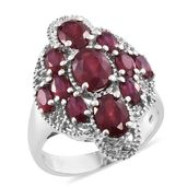 Niassa Ruby (FF) Platinum Over Sterling Silver Ring (Size 10.0) TGW 6.33 cts.