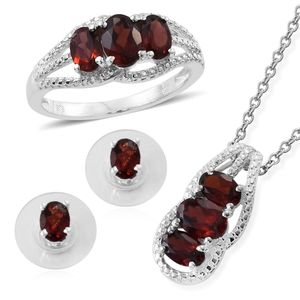 Mozambique Garnet Sterling Silver Earrings, Ring (Size 9) and Pendant With Stainless Steel Chain (20 in) TGW 5.05 cts.
