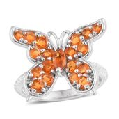 Salamanca Fire Opal Platinum Over Sterling Silver Butterfly Ring (Size 7.0) TGW 1.22 cts.