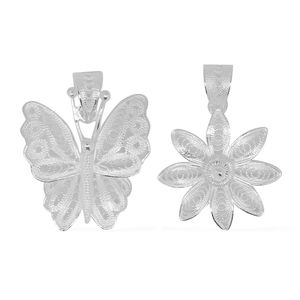 Bali Legacy Collection Sterling Silver Set of 2 Butterfly and Poinsettia Pendant without Chain (3.8 g)