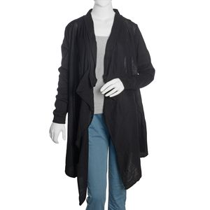 Black 100% Cotton Long Sleeve Open Waterfall Cardigan (X/XL)