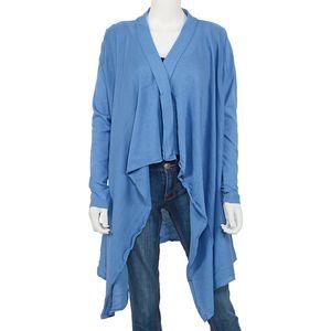 Blue 100% Cotton Long Sleeve Open Waterfall Cardigan (X/XL)