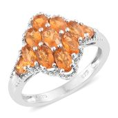 Salamanca Fire Opal Platinum Over Sterling Silver Ring (Size 8.0) TGW 1.46 cts.