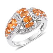 Dan's Jewelry Selections Salamanca Fire Opal, Cambodian Zircon Platinum Over Sterling Silver Ring (Size 9.0) TGW 2.40 cts.