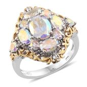 Mercury Mystic Topaz, Cambodian Zircon 14K YG and Platinum Over Sterling Silver Ring (Size 7.0) TGW 5.72 cts.