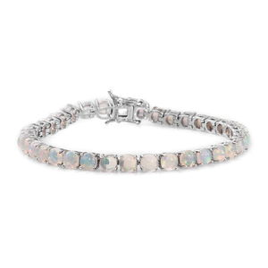 Ethiopian Welo Opal Platinum Over Sterling Silver Tennis Bracelet (7.50 In) TGW 12.20 cts.