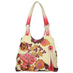 SUKRITI Red Floral Pattern Hand Painted Genuine Leather Shoulder Bag (14x3x2 in)