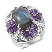 Malagasy Labradorite, Amethyst Platinum Over Sterling Silver Ring (Size 8.0) TGW 13.25 cts.